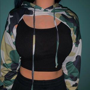 Fashion Nova Cropped Camo Hoodie